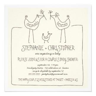 La familia moderna de los pájaros neutrales junta invitaciones personales