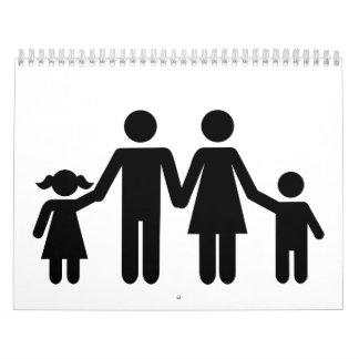 La familia parents a niños calendario