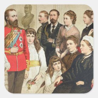 La familia real, 1880 calcomanía cuadrada