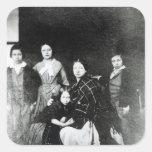 La familia real calcomanía cuadradas personalizadas
