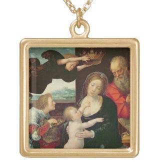 La familia santa, 1522 (aceite en el panel) collar dorado