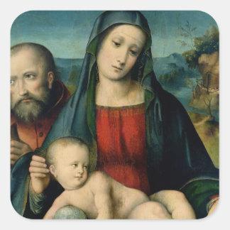 La familia santa 2 calcomanía cuadradas personalizada