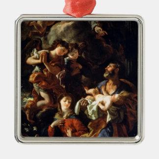 La familia santa (aceite en lona) adorno navideño cuadrado de metal