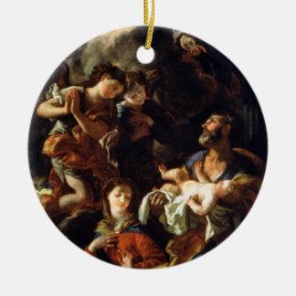 La familia santa (aceite en lona) adorno navideño redondo de cerámica