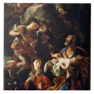 La familia santa (aceite en lona) azulejo cuadrado grande