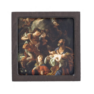La familia santa (aceite en lona) cajas de recuerdo de calidad