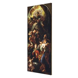 La familia santa (aceite en lona) impresión en lona estirada