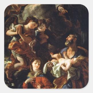 La familia santa (aceite en lona) pegatina cuadrada