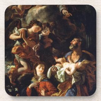 La familia santa (aceite en lona) posavasos de bebidas