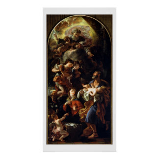 La familia santa (aceite en lona) póster