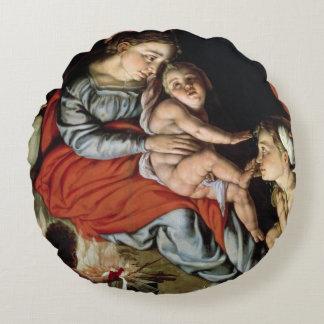 La familia santa alrededor de un fuego, c.1532-33 cojín redondo