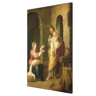 La familia santa, c.1660-70 impresión en lienzo estirada