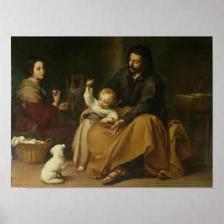 La familia santa con el pequeño pájaro, c.1650 póster