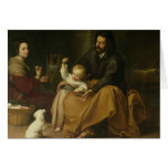 La familia santa con el pequeño pájaro, c.1650 felicitación