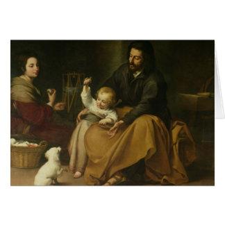 La familia santa con el pequeño pájaro, c.1650 tarjeta de felicitación