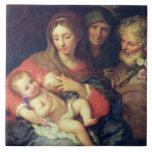 La familia santa con Elizabeth (aceite en el panel Azulejo Cuadrado Grande