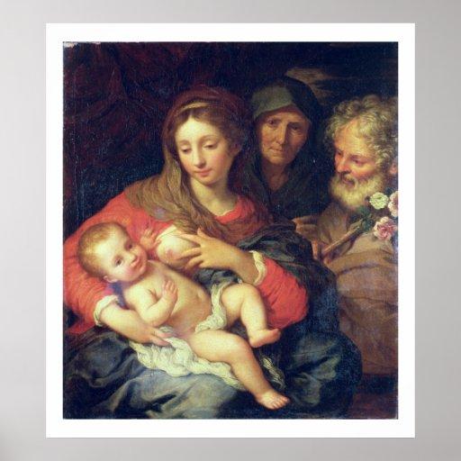 La familia santa con Elizabeth (aceite en el panel Póster