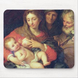 La familia santa con Elizabeth (aceite en el panel Tapetes De Ratones