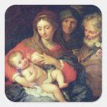 La familia santa con Elizabeth (aceite en el Pegatina Cuadrada