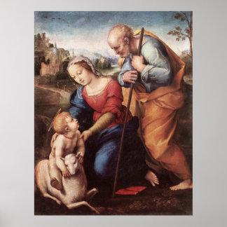 La familia santa con la impresión de la lona del c posters