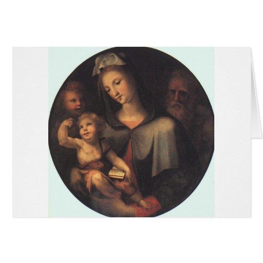 La familia santa con San Juan joven Tarjeta De Felicitación