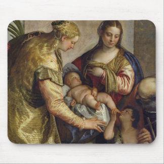La familia santa con St. Barbara, c.1550 (aceite e Alfombrillas De Raton