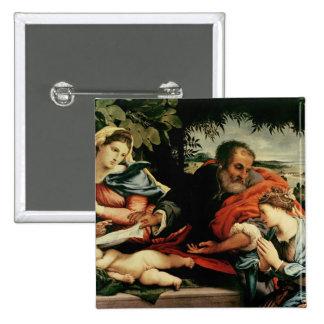 La familia santa con St. Catherine de Pin Cuadrada 5 Cm