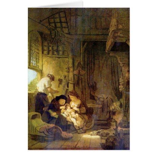La familia santa de Rembrandt Harmenszoon van Rijn Tarjeton