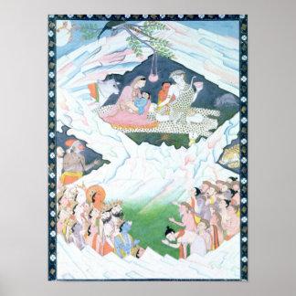 La familia santa de Shiva y de Parvati Póster