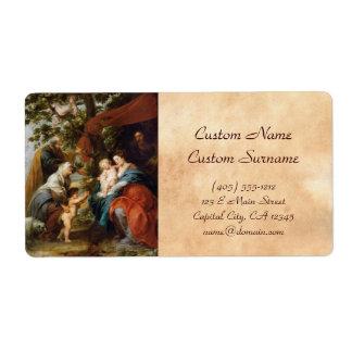La familia santa debajo del manzano Rubens Paul Etiquetas De Envío