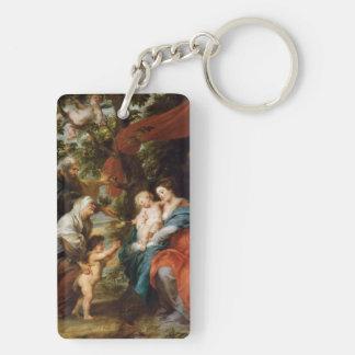 La familia santa debajo del manzano Rubens Paul Llavero Rectangular Acrílico A Doble Cara