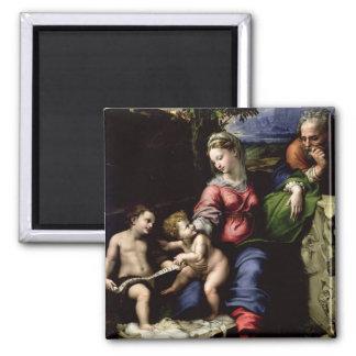 La familia santa del roble, c.1518 imán cuadrado
