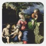 La familia santa del roble, c.1518 pegatina cuadrada