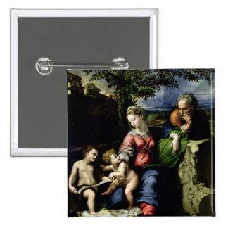La familia santa del roble, c.1518 pin cuadrada 5 cm