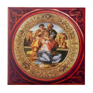 La familia santa. El Doni Tondo Azulejo Cuadrado Pequeño