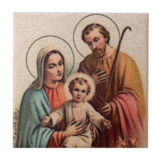 La familia santa - Jesús, Maria, y José Azulejo Cuadrado Pequeño