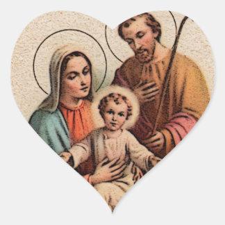 La familia santa - Jesús, Maria, y José Pegatina De Corazón