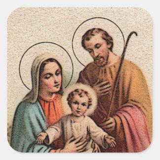 La familia santa - Jesús, Maria, y José Pegatina Cuadrada