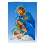 La familia santa - natividad - nacimiento del bebé tarjetón
