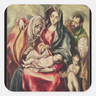 La familia santa pegatina cuadradas