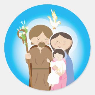 La familia santa etiqueta redonda