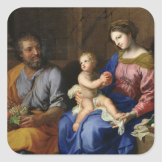 La familia santa pegatina cuadradas personalizadas