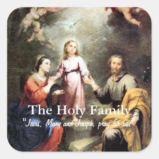 La familia santa calcomanías cuadradas