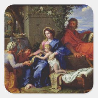 La familia santa calcomania cuadrada personalizada