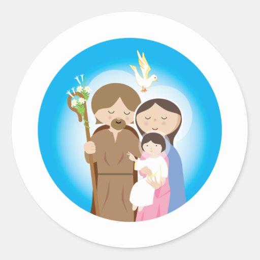 La familia santa pegatina redonda