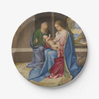 La familia santa por Giorgione Plato De Papel De 7 Pulgadas