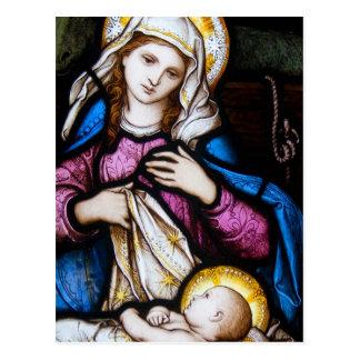 La familia santa que representa Madonna y al niño Postal