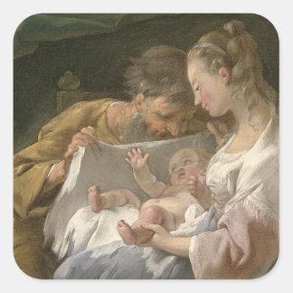 La familia santa, siglo XVIII Colcomanias Cuadradas
