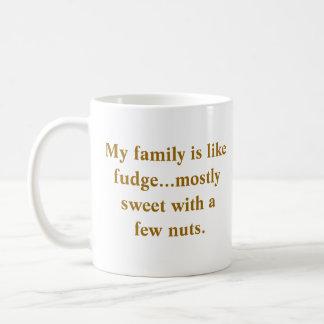 La familia tiene gusto de la taza del dulce de