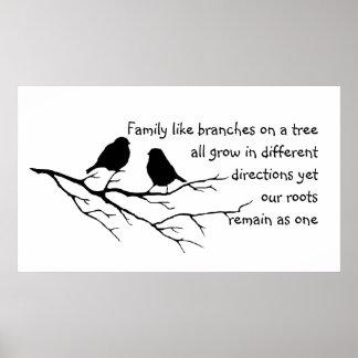 La familia tiene gusto de ramas en un árbol que póster